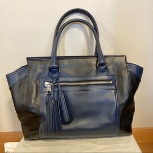 Coach navy black satchel doctor tassel bag